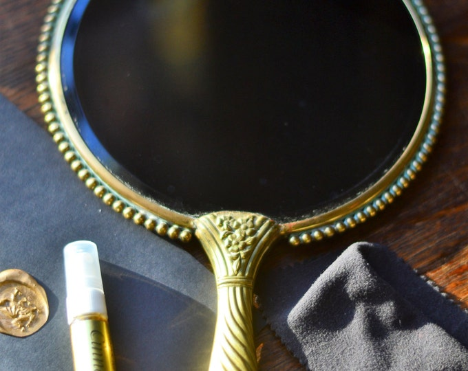 VINTAGE SCRYING MIRROR for scrying divination, scrying mirror, black mirror, wiccan altar, altar tools, meditation