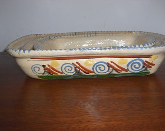 3 1940's Mexican Folk Art Pottery Hand Made Nesting Bowls