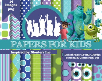 Digital Papers, Monsters Inc, Mike and Sulley, Boo, Birthday, Background, Clipart, Kids, Invitation, Papers for Kids