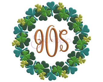 St. Patrick's Day Shamrock Embroidery Frame Round - 10 Sizes 10 Formats DST PES HUS Machine Embroidery Frame Design - Instant Download Files