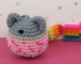 Keychain Nyan Cat | Handmade in amigurumi crochet | Kawaii | Geek