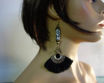 Earrings ethnic black and white.