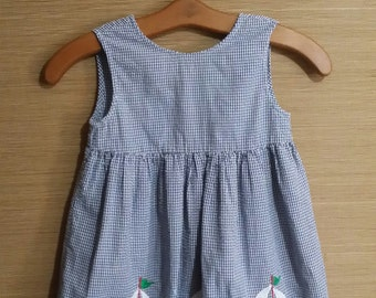 Little girl navy gingham vintage sailor dress, with three sail ships.size 6.