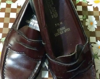 Little girl brown leather vintage shoes, made in the USA size  7  1/2