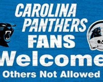 Carolina Panthers NFL Fans Welcome Sign/Wreath Supplies/NFL Football Sign/Sports Decor/FCFWSPANTH