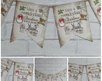 Alice in Wonderland Christmas #2 Bunting/Garland Decoration - Party,Xmas,Holiday Bunting,Venue,Decor
