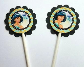 Set of 12 Disney Princess Jasmine Cupcake Toppers