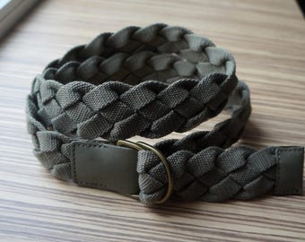 Military style khaki belt, woven and braided cotton canvas, vegan faux leather, golden Drings, extra large size, vintage fashion accessories