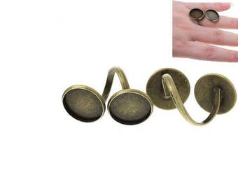 5 rings Bronze Double 16mm Cabochons