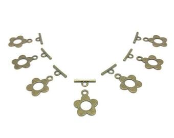 40 sets Bronze flower Toggle