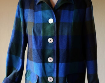 Womens Vintage Pendleton 49er Style Button down Wool Jacket with mother of pearl buttons Large / Blue Plaid wool Pendleton Blazer 1980s