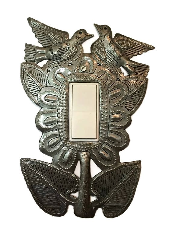 Metal Light Plate Cover, Rocker, Birds and Flowers, Home Decor, Haiti