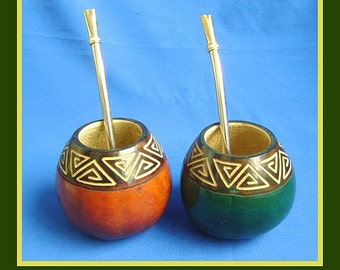 2 Colorful Mate Gourds, 2 Bombillas / BUY 1 & GET 1 FREE!