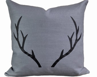 Stag Linen pillow with down insert- slate with black print.
