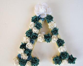 On Sale - Custom name letter - Letter A - Wedding decor - Flower name letter - Wall decor - Birthday gift - Nursery letters - Wooden letters