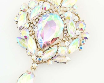 Rhinestone AB Brooch, Aurora Borealis Broach, Iridescent Gold Broach, Iridescent Bridal Sash Brooch, AB Crystal Broach, AB Brooches