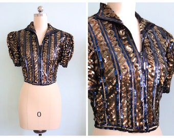 Vintage 1940's Navy and Gold Sequin Jacket   Size Medium