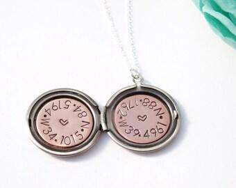 GPS coordinates – Silver locket – Latitude longitude – Wedding date necklace – Gift for bride - Quote locket necklace - LDR gift -
