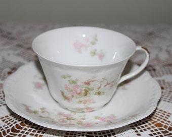 Vintage A. Lantenier Limoges China Teacup, Made in Limoges France Pastel Pink and Green Floral Tea Cup