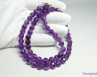 Natural Faceted Purple Amethyst Gemstone Necklace, Sterling Silver 925, Handmade in Greece, FREE SHIPPING