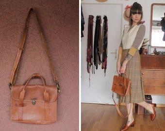 1970's Caramel Leather Satchel Bag