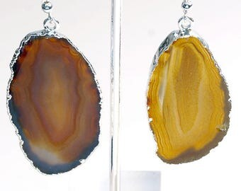 Silver Plated Natural Agate Slice Earrings (AE32BT)