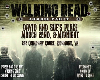 Printable Download Walking Dead Zombie Party Invitation