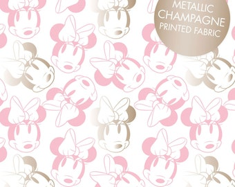 Disney Fabric Minnie Mouse Fabric Camelot Fabric Metallic Fabric Pink Minnie Mouse Outlines Fabric