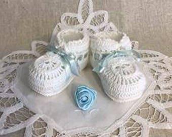 Baby booties, Crochet booties, Hand crochet baby booties, Baby boy booties, Baby gift, Baby shower gift, Christening baby boy booties