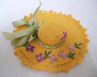 Vintage Crocheted PIN CUSHION Hat Embroidered Ribbon