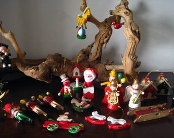 23 Wooden Painted Christmas Ornaments – Santa, Clowns, Angels and More