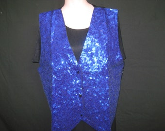 Blue sequin vest#701