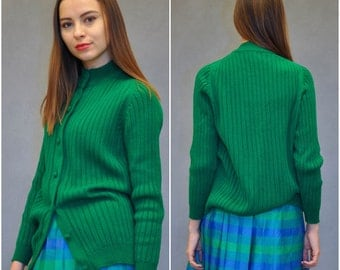 ON CLEARANCE Emerald cardigan | vintage 1960s cardigan sweater / emerald green knit 60s sweater