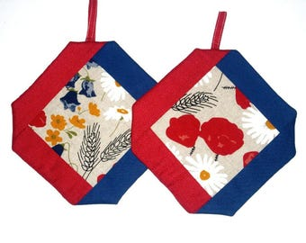 Oven mitts meadow flowers, red blue