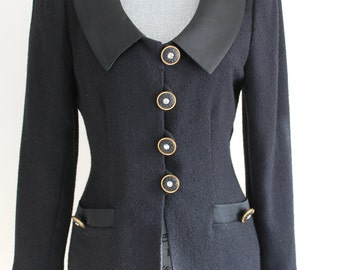 1980s Black Wool Jacket by Renlyn New York, Size 8 Crystal Rhinestone Buttons Satin Collar