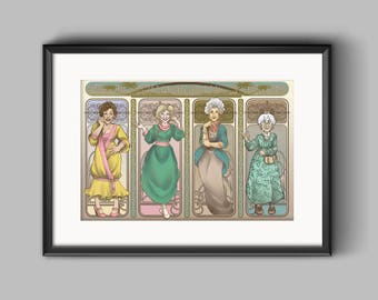 Golden Girls Art Nerdveau Print featuring Blanche Devereaux, Rose Nylund, Dorothy Zbornak, Sophia Petrillo, Betty White, Bea Arthur