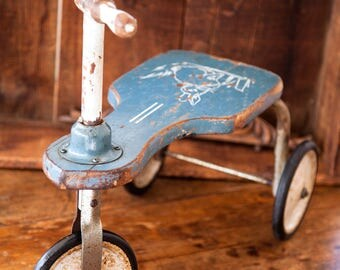 1940s Children Walker Tricycle Bike - Primitive Toy Scooter - Free Shipping Within the USA