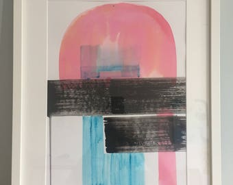 Sunset in the City, original abstract painting, minimal art for modern interior