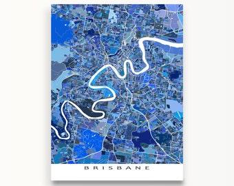 Brisbane Map Print, Brisbane Australia, Wall Art Poster, Blue Maps