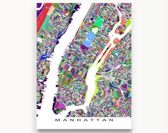 Manhattan New York, Manhattan Map Print, New York City Street Map, NYC