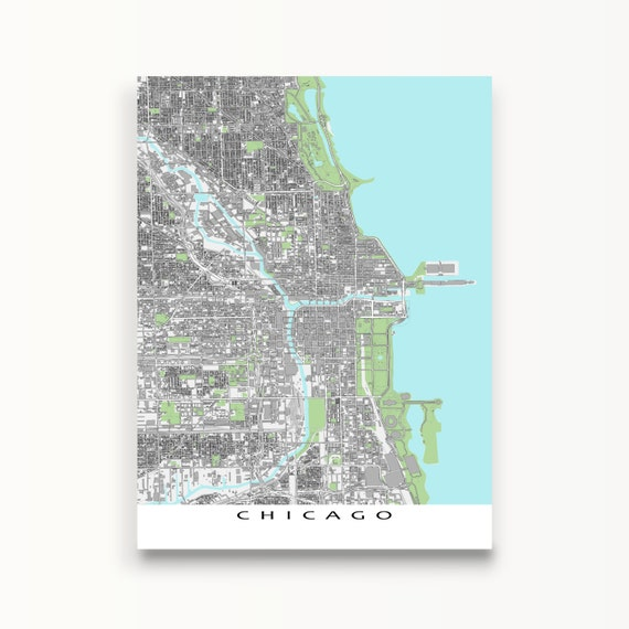 Chicago Map Chicago Art Print Map of Chicago Illinois USA