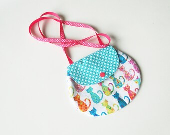 "Girls' handbag ""cats"" in cotton and ribbon"
