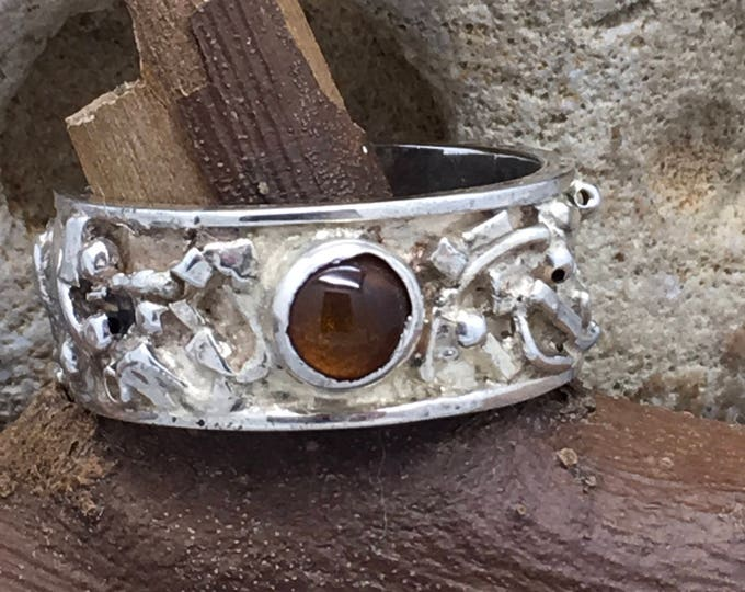 Handcrafted Sterling Silver and Amber Ring.