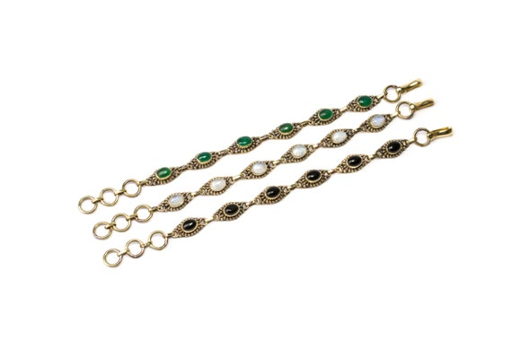 Dainty Moonstone,  Green Onyx, Black Onyx Gemstone Brass Bracelet Adjustable Gift Boxed + Giftbag + Free UK Delivery
