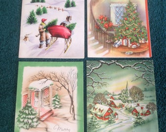 Vintage Christmas cards ( set )