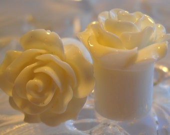 "1/2"" Rose Plug, 13mm Rose Plug, White Rose Plug, Acrylic Plug"