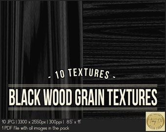 Black Wood Grain Textures | 8.5x11 Printable Digital Papers | Set of 10 Textured Scrapbook Papers | Digital scrapbook | Photo Paper overlays