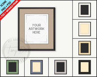 Black Frame Mockup 8x10 | Custom color Decorative Mat with Black line | 8 PNG scene Black Empty Frame Styled Mockup W29