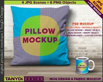 Decorative 16x16 Pillow & Coffee Mug Mockup | Styled JPG Scene | White Cushion 11oz Mug with coffee on wood floor