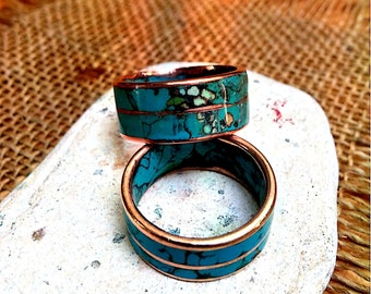 Marbled Turquoise Copper, Bronze Ring Band.  10mm Wide. 1.5-2mm Thick.